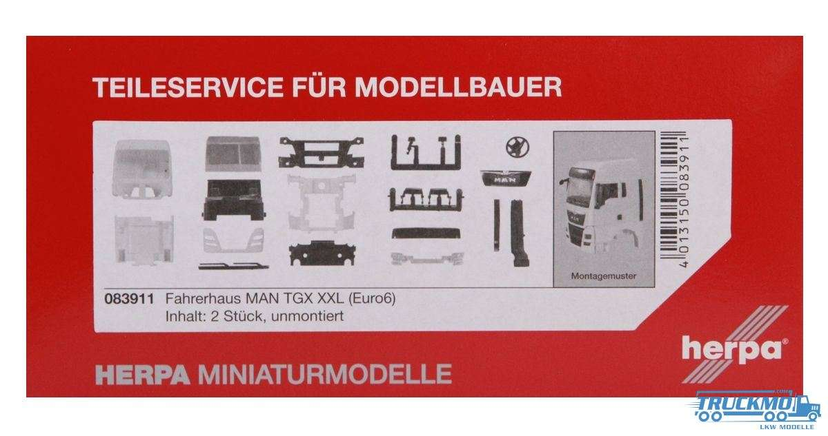 Herpa Fahrerhaus MAN TGX XXL Euro 6 ohne WLB & Dachspoiler Inhalt: 2 Stück LKW Modelle