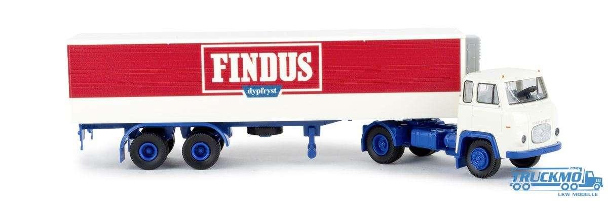1//87 Brekina Scania LB76 Koffer Sattelzug Findus 98510