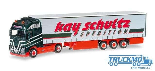 Herpa Kay Schultz LKW Modell Volvo FH Gl. XL Gardinenplanen-Sattelzug 306980