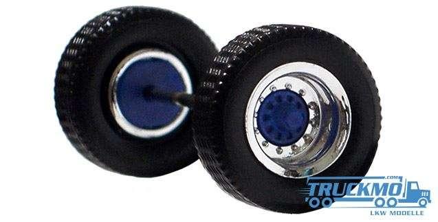 Herpa Radsatz 2 teilig chrom blau Aufliegerachse 690105c
