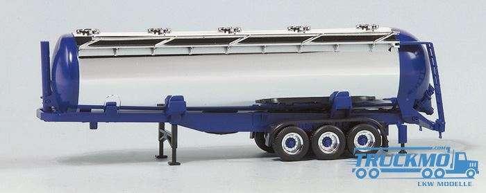 Herpa Chromsiloauflieger 56cbm 3-Achs (Endkappen + Chassis blau) 650151