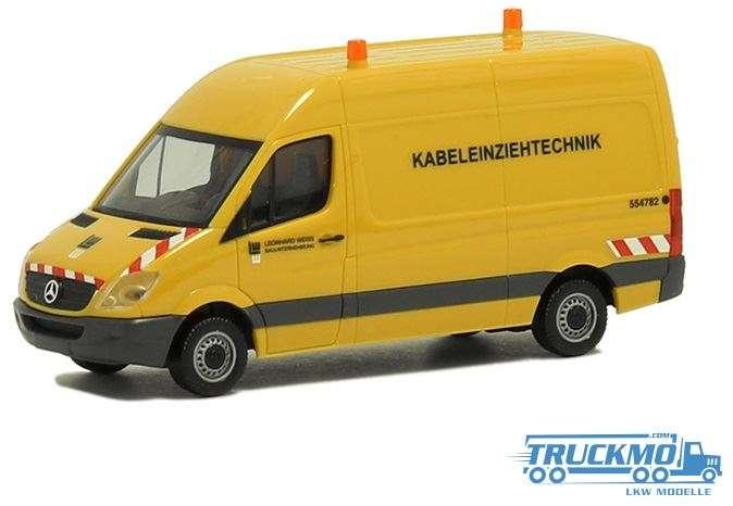 Herpa Leonhard Weiss Kabeleinziehtechnik Mercedes-Benz Sprinter `06 Kasten HD 938297