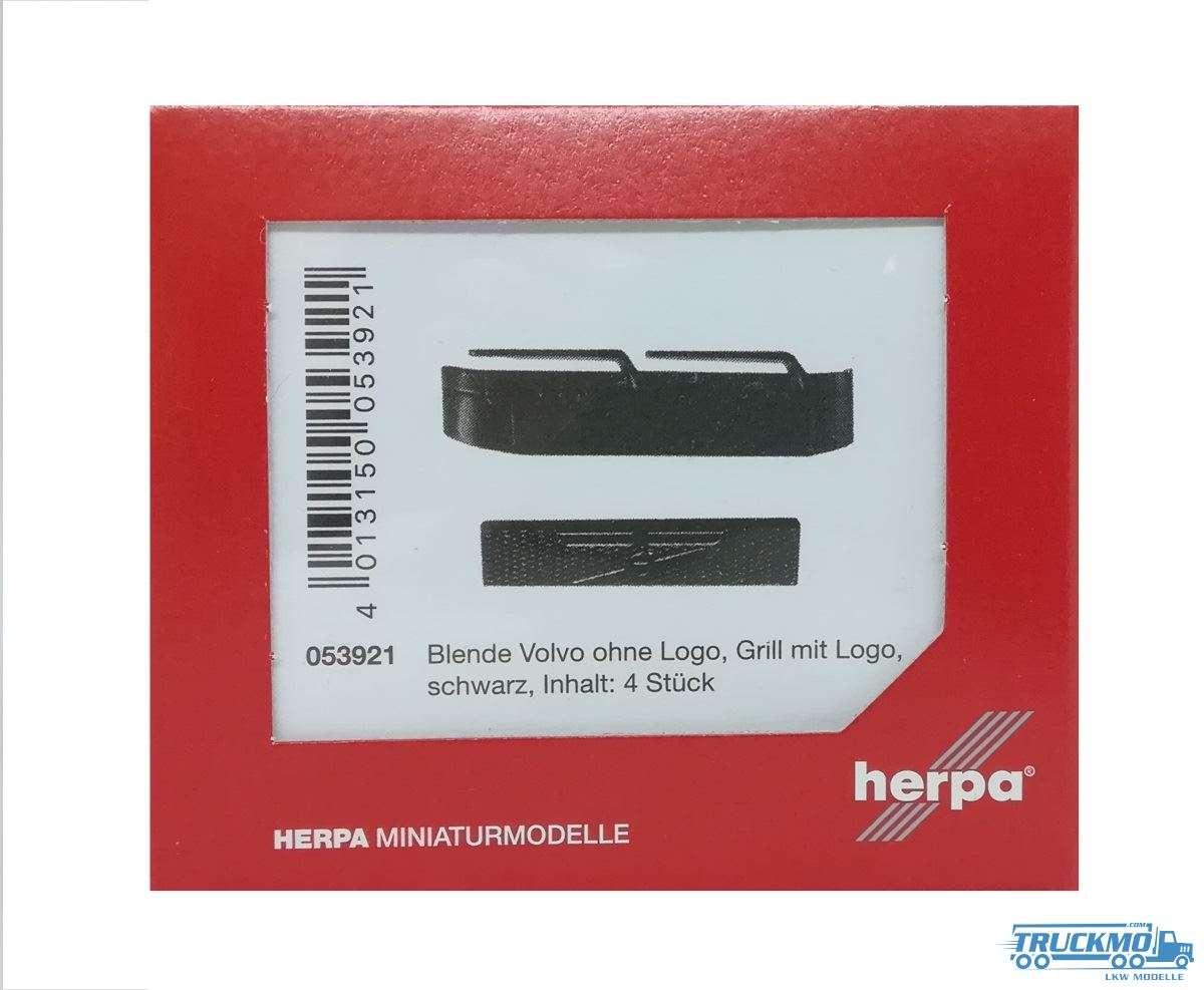 Herpa Zubehör Blenden Volvo ohne Logo, Grill mit Logo schwarz (Inhalt 4 Stück) 053921