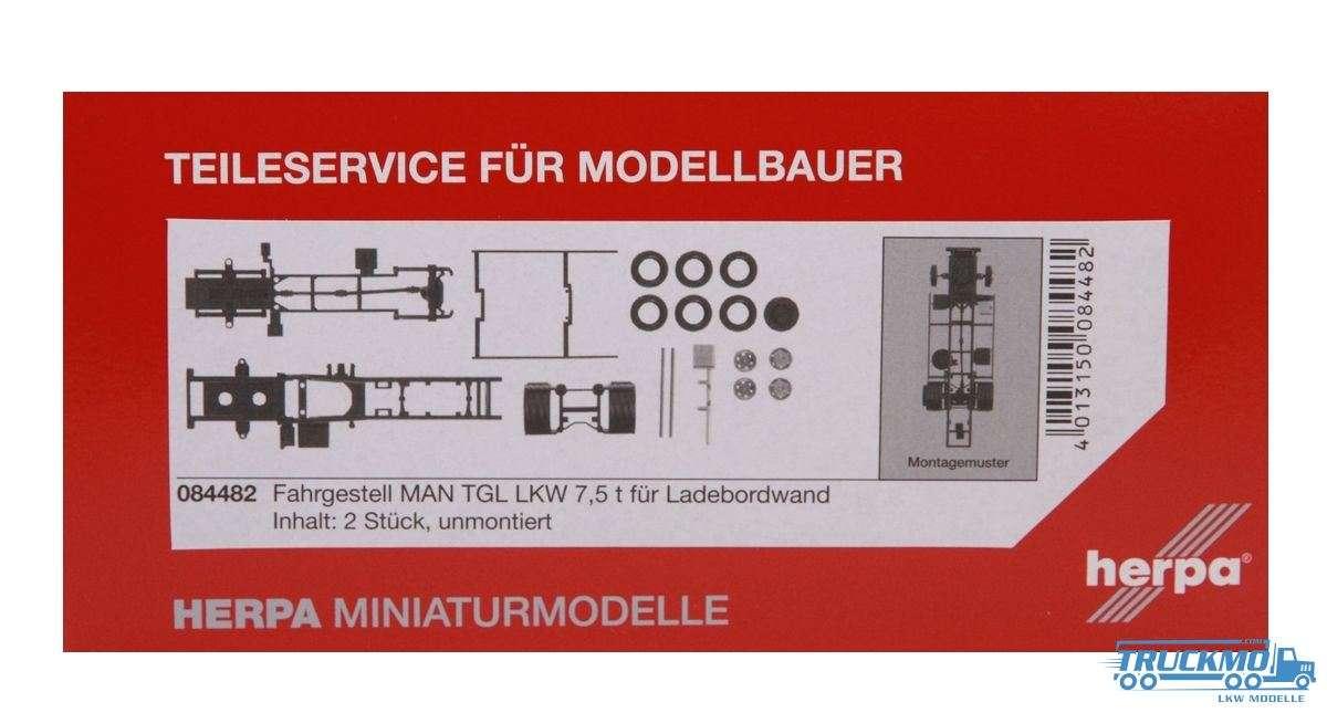 Herpa Fahrgestell MAN TGL LKW 7,5 t für Ladebordwand 2 Stück 084482