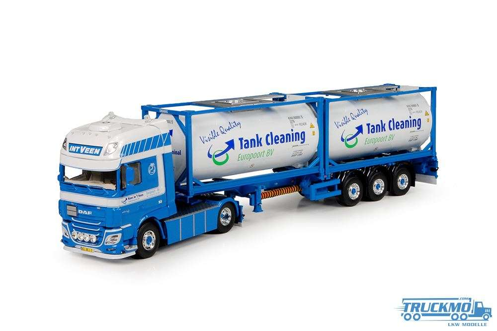 Tekno Veen In't LKW Modell DAF XF EURO 6 Super Space Cab mit Flexitrailer und Tankcontainers 71184