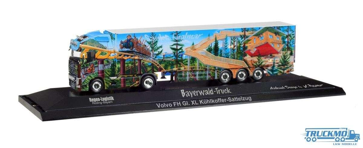 Herpa Regen Logistik / Bayerwald-Truck Volvo FH Gl XL Kühlkoffer-Sattelzug 121835