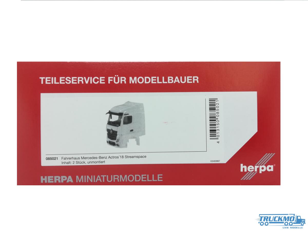 Herpa Mercedes-Benz Actros Streamspace 2.5 2018 mit Windleitblech, Grill separat Inhalt: 2 Stück 085