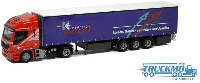 AWM Kerkeling LKW Modell Iveco HiWay Gardinenplanen Sattelzug 75403