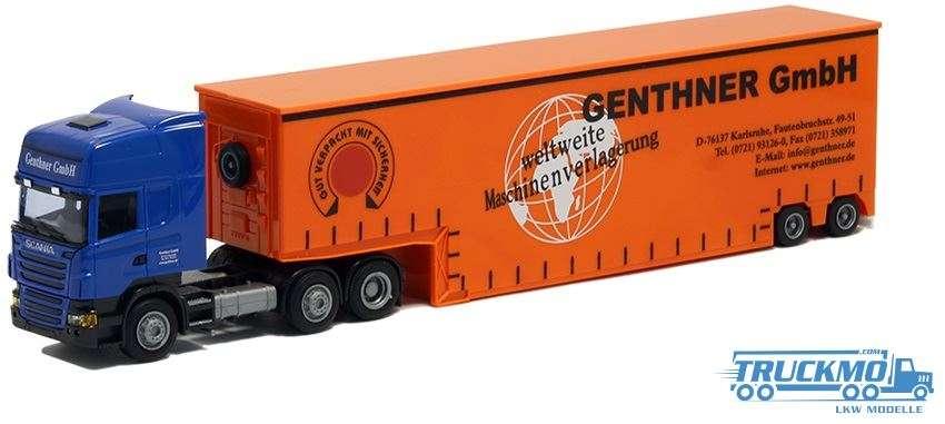 AWM Genthner Scania R09 Topline Tiefbett Auflieger 8492.44