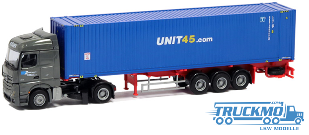AWM Stöger Unit 45 LKW Modell Mercedes Benz Actros Streamspace 45 ' Container Sattelzug 75070