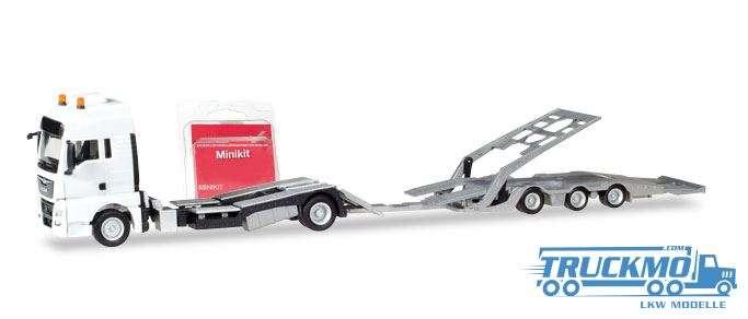 Herpa MiniKit: MAN TGX XXL LKW-Transporter-Hängerzug, weiß 013529