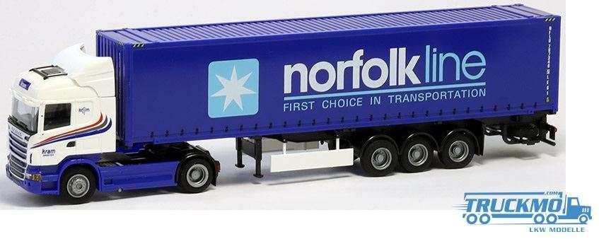 AWM Kram Norfolk LKW Modell Scania 09 Highl. Aerop. 45'OS Container Sattelzug 8579.31