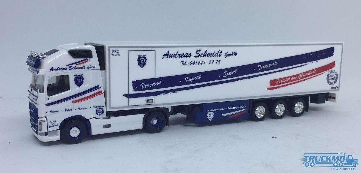 Herpa Andreas Schmidt Volvo FH Globetrotter XL Kühlkoffer-Sattelzug 932035