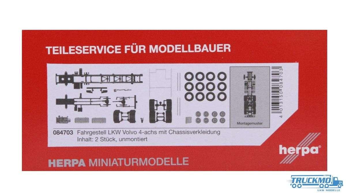 Herpa Fahrgestell Volvo 4-achs LKW mit Chassisverkleidung (Inhalt: 2 Stück) 084703