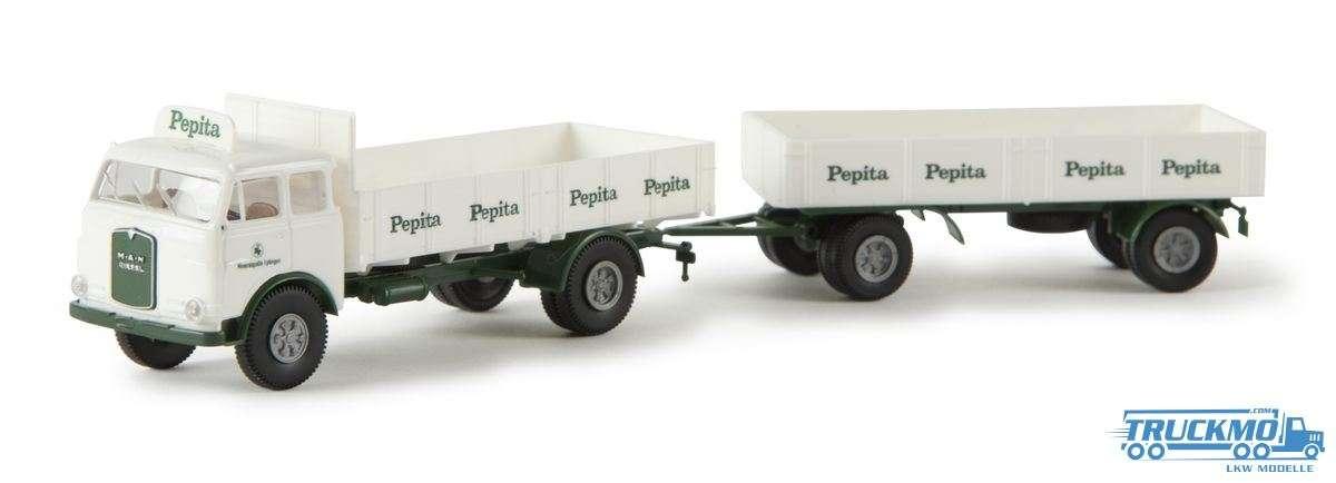 Brekina Modelle Pepita MAN 10.212 Pritschen-Hängerzug 78363