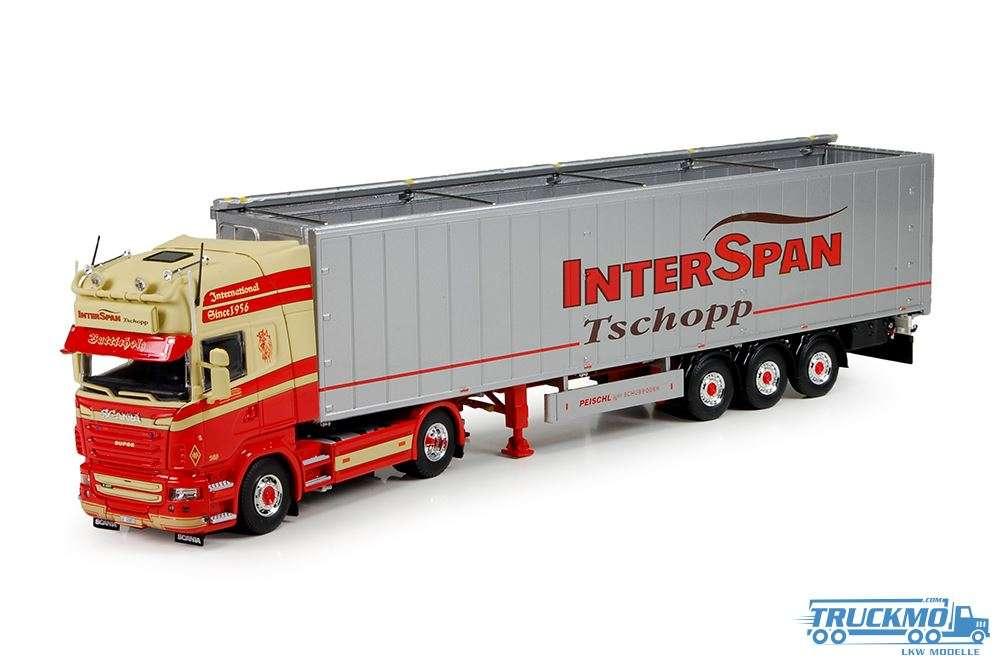 Tekno Interspan Tschopp LKW Modell Scania R-Serie Topline mit Schubbodenauflieger 71081