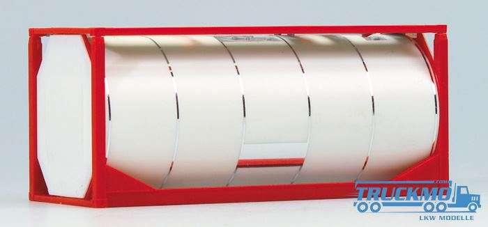 AWM 20ft.van-Hool-Tankcont. (Rahmen rot, Tank weiß mit verchromten Spannringen) 490065