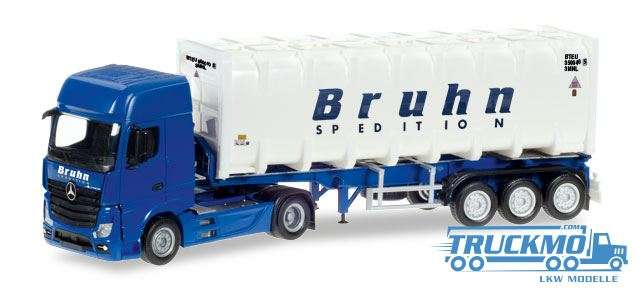 Herpa Bruhn LKW Modell Mercedes-Benz Actros Giga Bulkcontainer-Sattelzug 307796