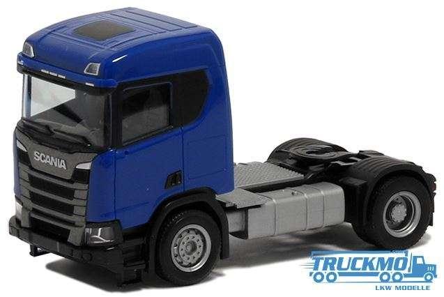 Herpa Scania CR 20 ND Zugm. 2achs Baueinstieg blau 580439