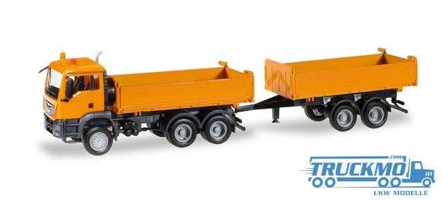 Herpa LKW Modell MAN TGS M Euro 6c Baukipper-Tandem-Hängerzug 308090