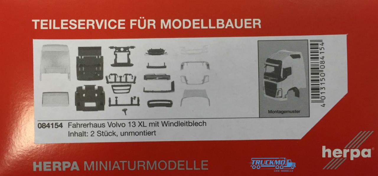Herpa Volvo FH GL XL Fahrerhaus mit Windleitblech und Dachspoiler Inhalt: 2 Stück LKW Modelle 084154