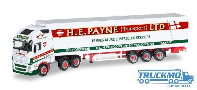 Herpa H.E.Payne LKW Modell Volvo FH Gl. XL 6x2 Kühlkoffer-Hängerzug 306164