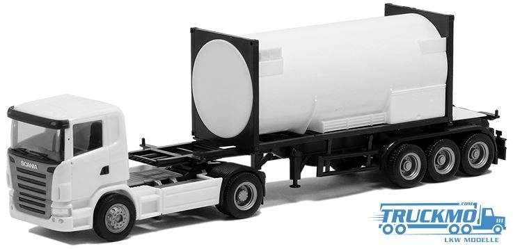 Herpa Scania M 2004 20ft. Tankcontainer auf 30ft. Trailer (weiß, Chassis schwarz)