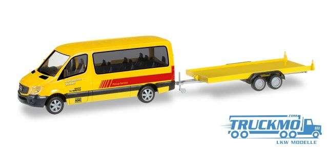 Herpa ADAC Rückholdienst Mercedes-Benz Sprinter Bus mit PKW-Transportanhänger 091855