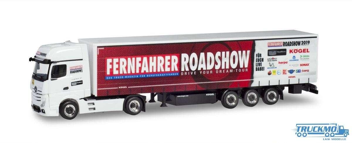 Herpa Fernfahrer - Truck Grand Prix 2019 Mercedes Benz Actros Gigaspace Planenauflieger 937078