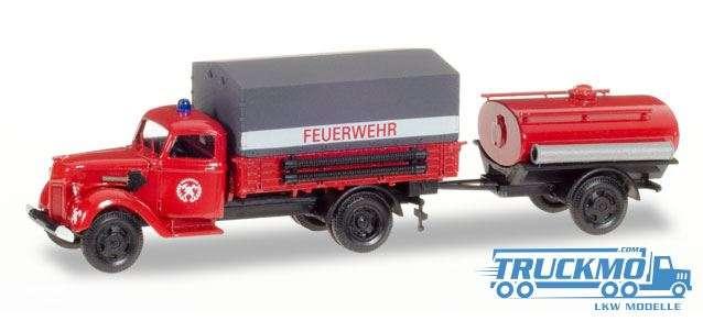 Herpa Feuerwehr Ford V 3000 Planen-LKW mit Tankanhänger 307956