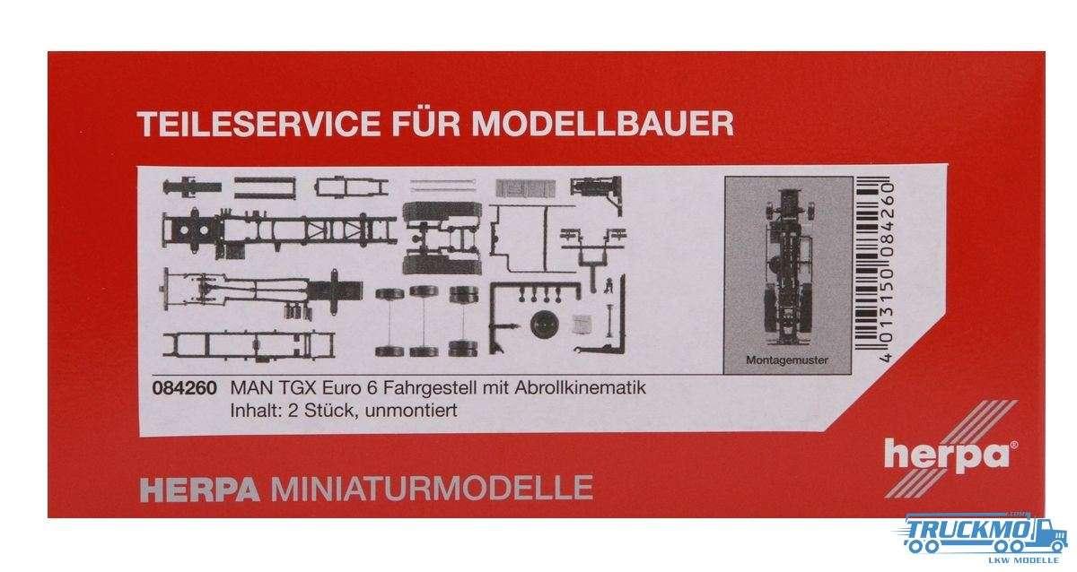 Herpa Zugmaschinen-Fahrgestell LKW-Modell MAN TGX Euro 6 mit Abrollkinematik Inhalt: 2 Stück