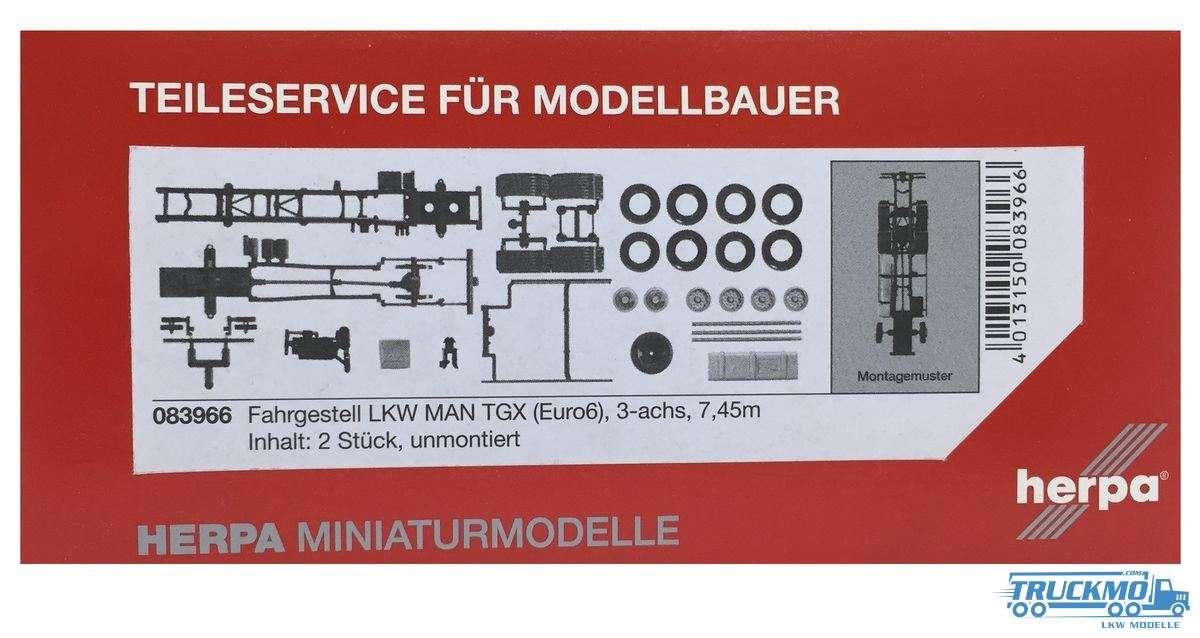 Herpa Fahrgestell LKW MAN Euro 6, 7,45m, 3achs Inhalt: 2 Stück LKW Modell 083966