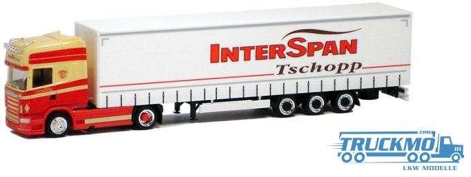 Herpa Interspan-Tschopp Scania R09 Topline Gardinenplanen Lowliner 925426