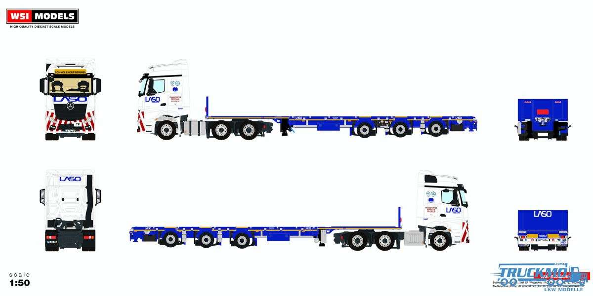 WSI Models Laso Mercedes Benz Actros MP4 StreamSpace Tieflader 01-2961
