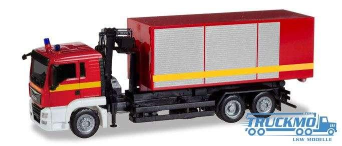 Herpa Feuerwehr MAN TGS L Wechssellader-LKW mit Kran 093705