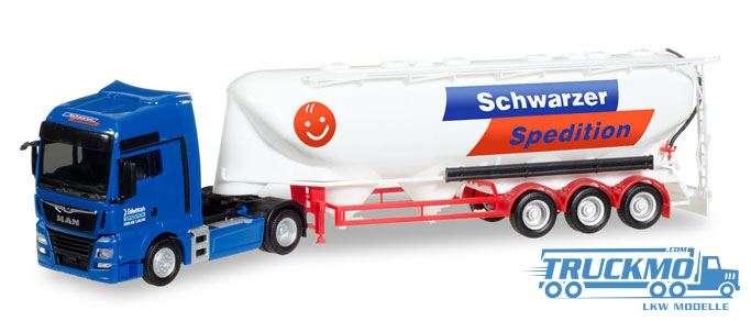 Herpa Schwarzer Spedition MAN TGX XXL Euro 6c Eutersilo-Sattelzug 308885
