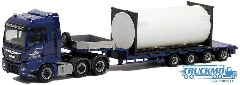 Herpa Anker Transport MAN TGX XXL Euro 6 Semietieflader mit Ladegut 20ft. Tankcontainer 5033