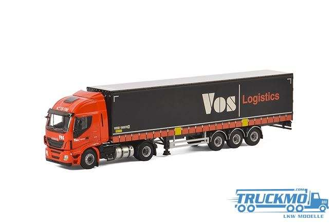 WSI Vos Logistics LKW Modell Iveco Stralis Highway 4x2 Planenauflieger 3 Achs 01-1891