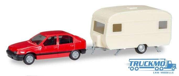 Herpa MiniKit: Opel Kadett E GLS mit Wohnanhänger 013420