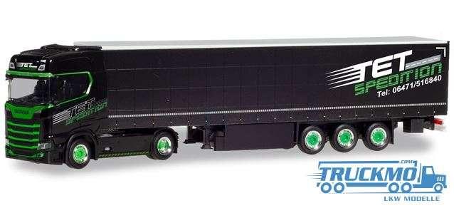 Herpa TET Spedition Scania CS 20 HD Gardinenplanen-Sattelzug 310253
