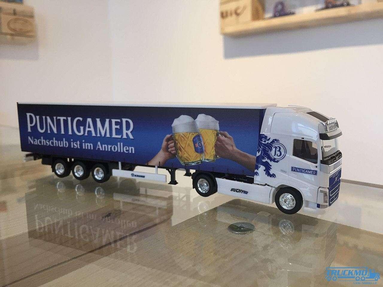 Herpa Suchy Trans Puntigamer Bier Volvo FH Globetrotter Planen-Sattelzug 927741