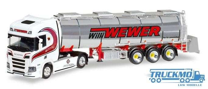 Herpa Willi Wewer Scania CR HD Chromtank-Sattelzug 308427