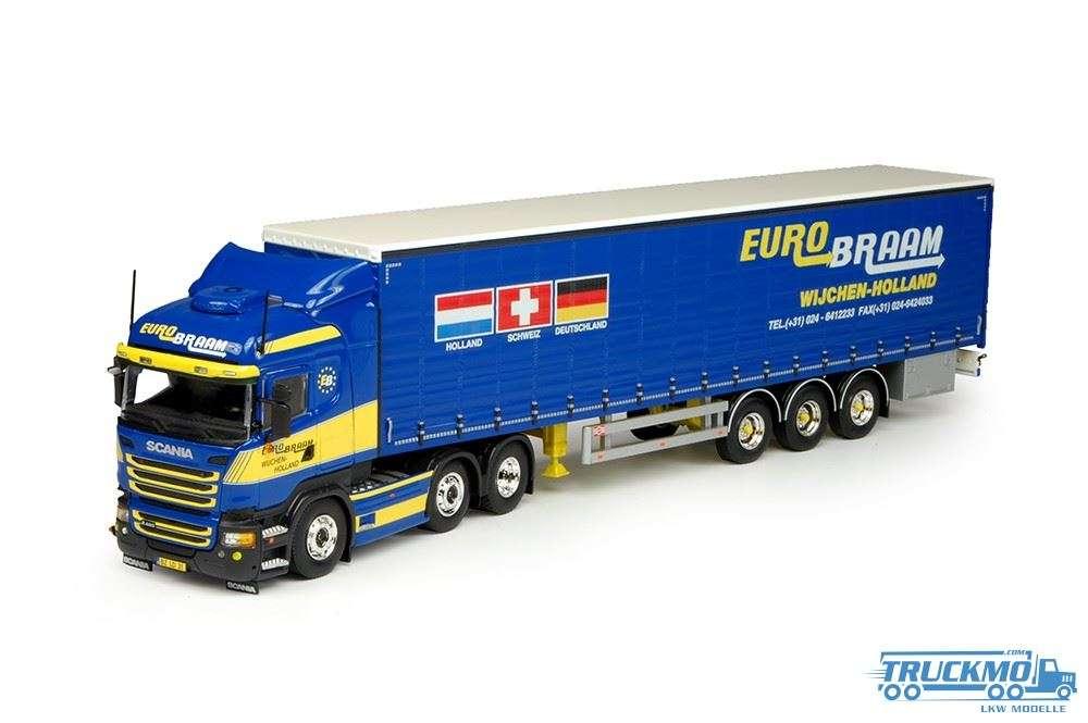 Tekno Eurobraam LKW Modell Scania R-Streamline Highline 6x2 mit Schiebeplanen-Auflieger 69601