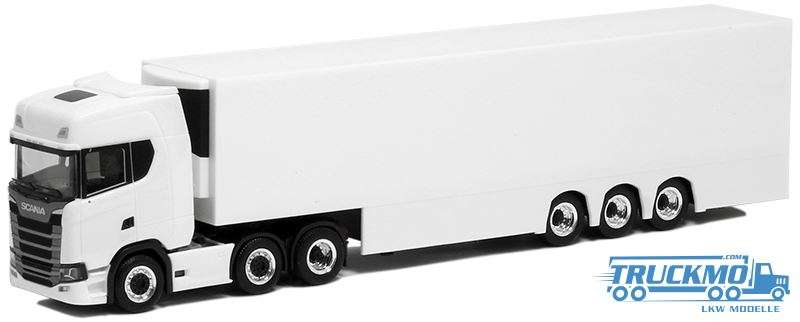 Herpa Scania CS HD Euro Kühlkofferauflieger weiß 3/3Achs 931298