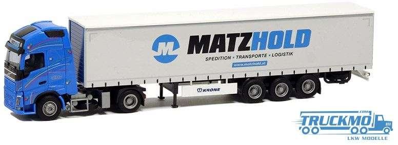 AWM Matzhold LKW Modell Volvo 12 XL Gardinenplanen Sattelzug 54413