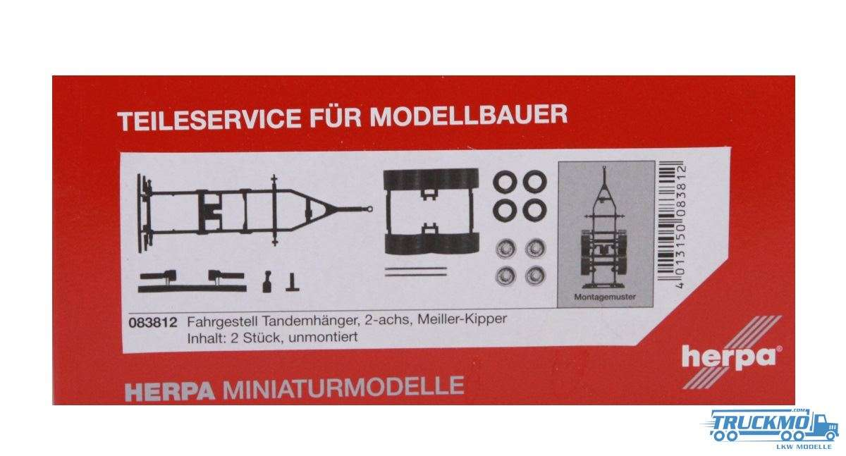 Herpa Fahrgestell Tandemhänger Meiller-Kipper Inhalt: 2 Stück