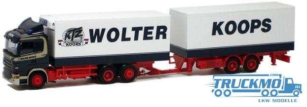 AWM Wolter Koops LKW Modell Scania 09 Kühlkoffer Tandem-Hängerzug 74993