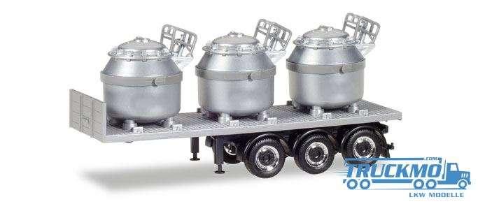 Herpa Auflieger mit 3 Aluminiumtiegeln, silber 076838
