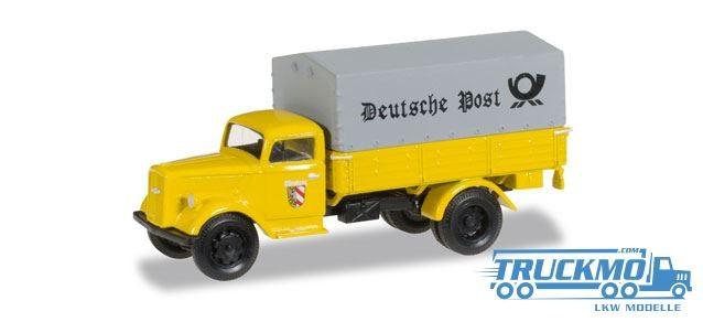 Herpa Deutsche Post Nürnberg Opel Blitz Planen-LKW Modell 745376