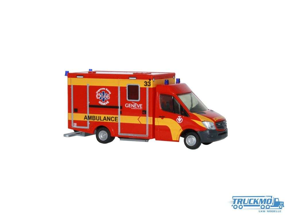 Rietze Ambulance Airport Genève (CH) WAS Design-RTW Facelift 76102